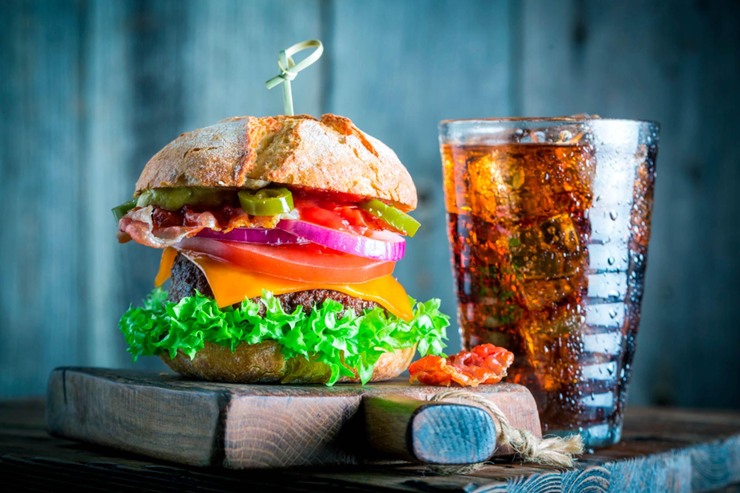 burger and soda
