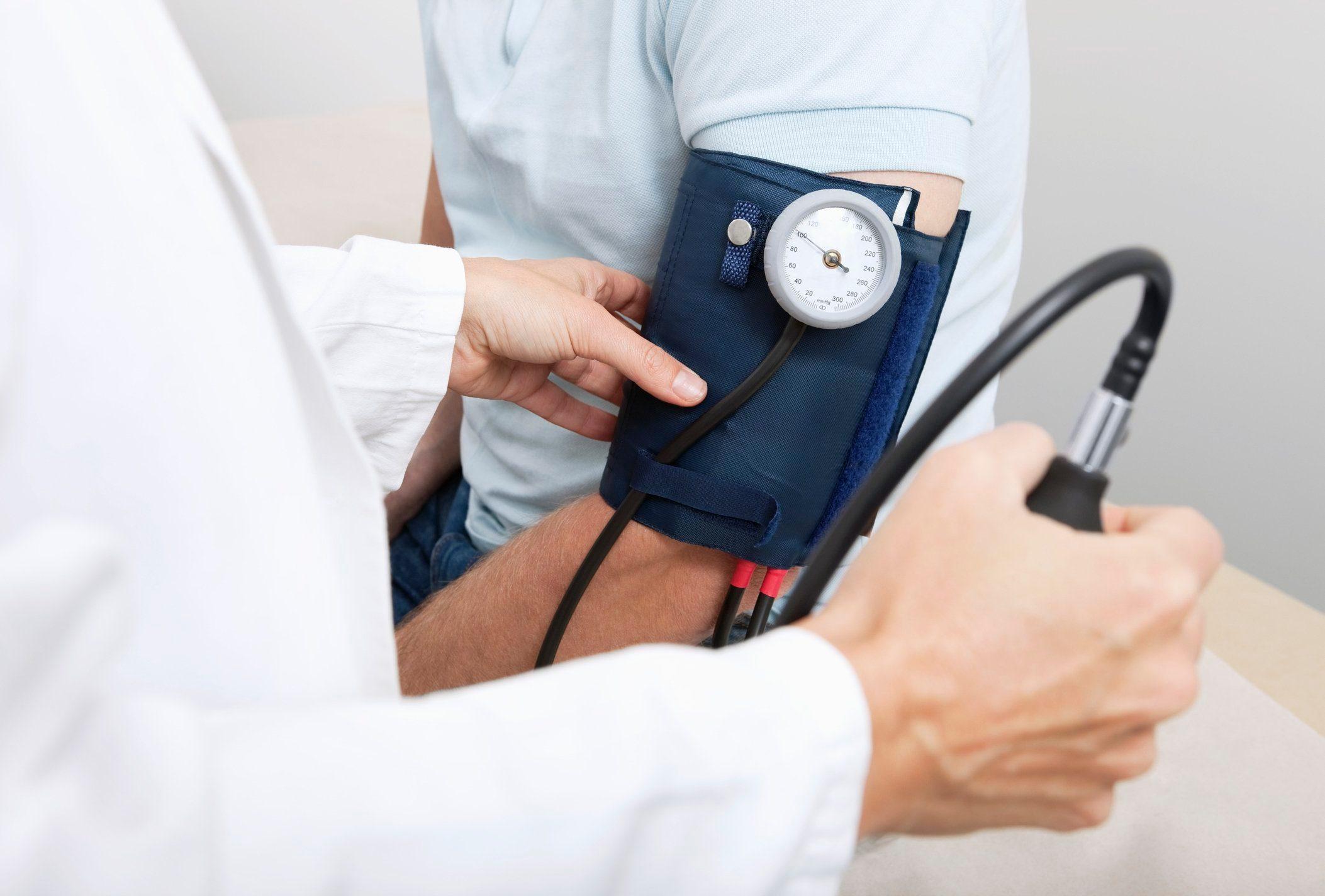 measuring blood pressure close up