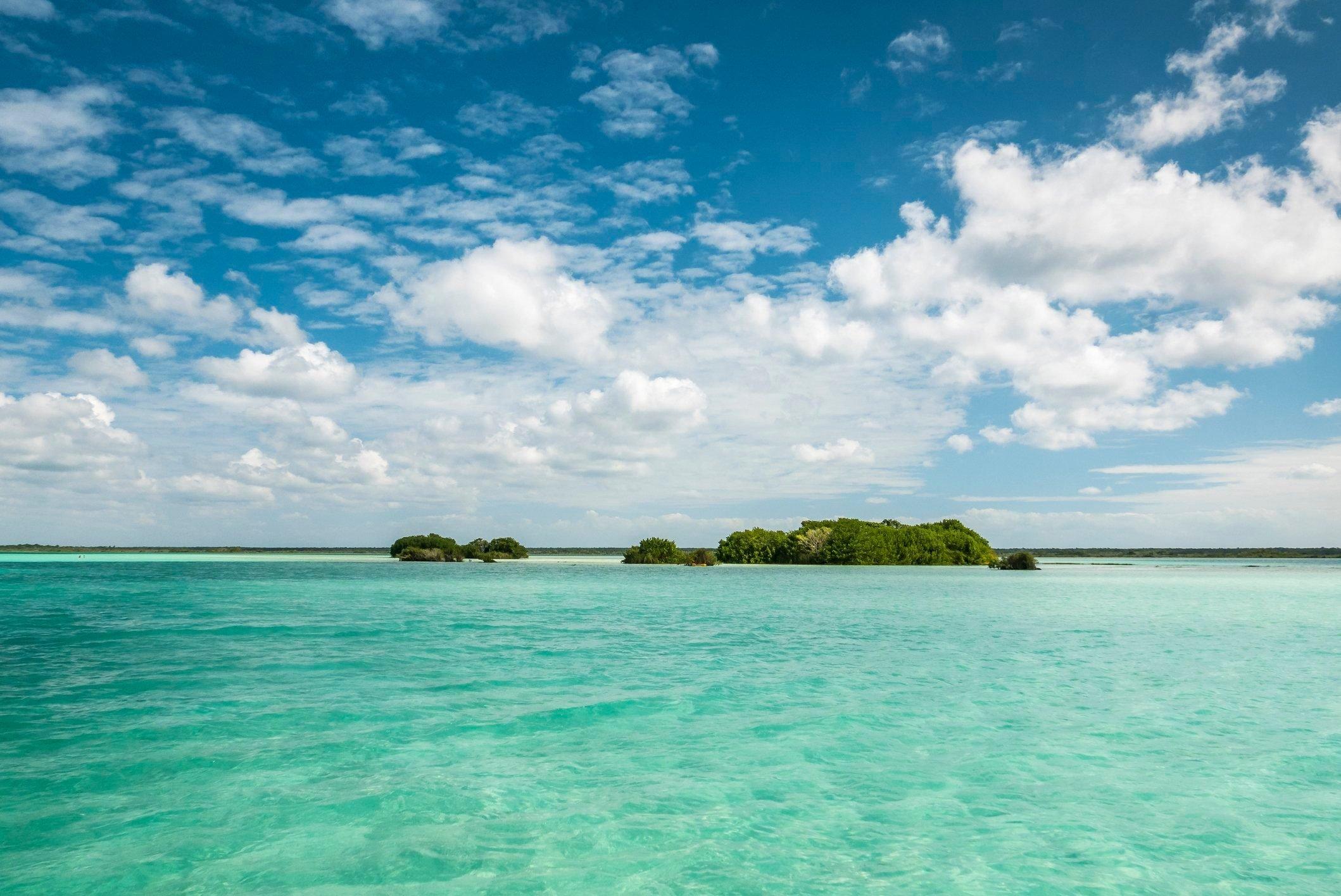 Beautiful view of caribbean lagoon Bacalar. Seven Color water