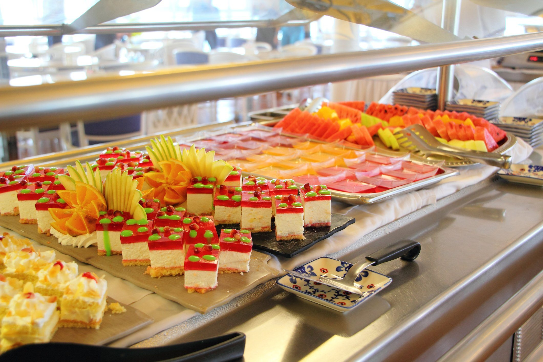 dessert buffet in a cruise ship restaurant
