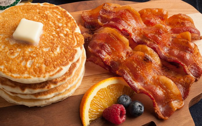 Bacon tips - pancakes and bacon for breakfast