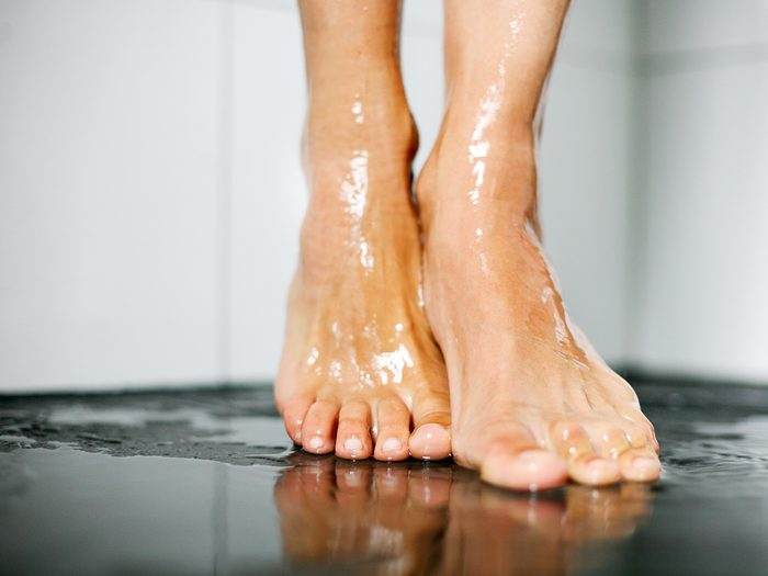 Body parts you're washing all wrong - female feet in shower