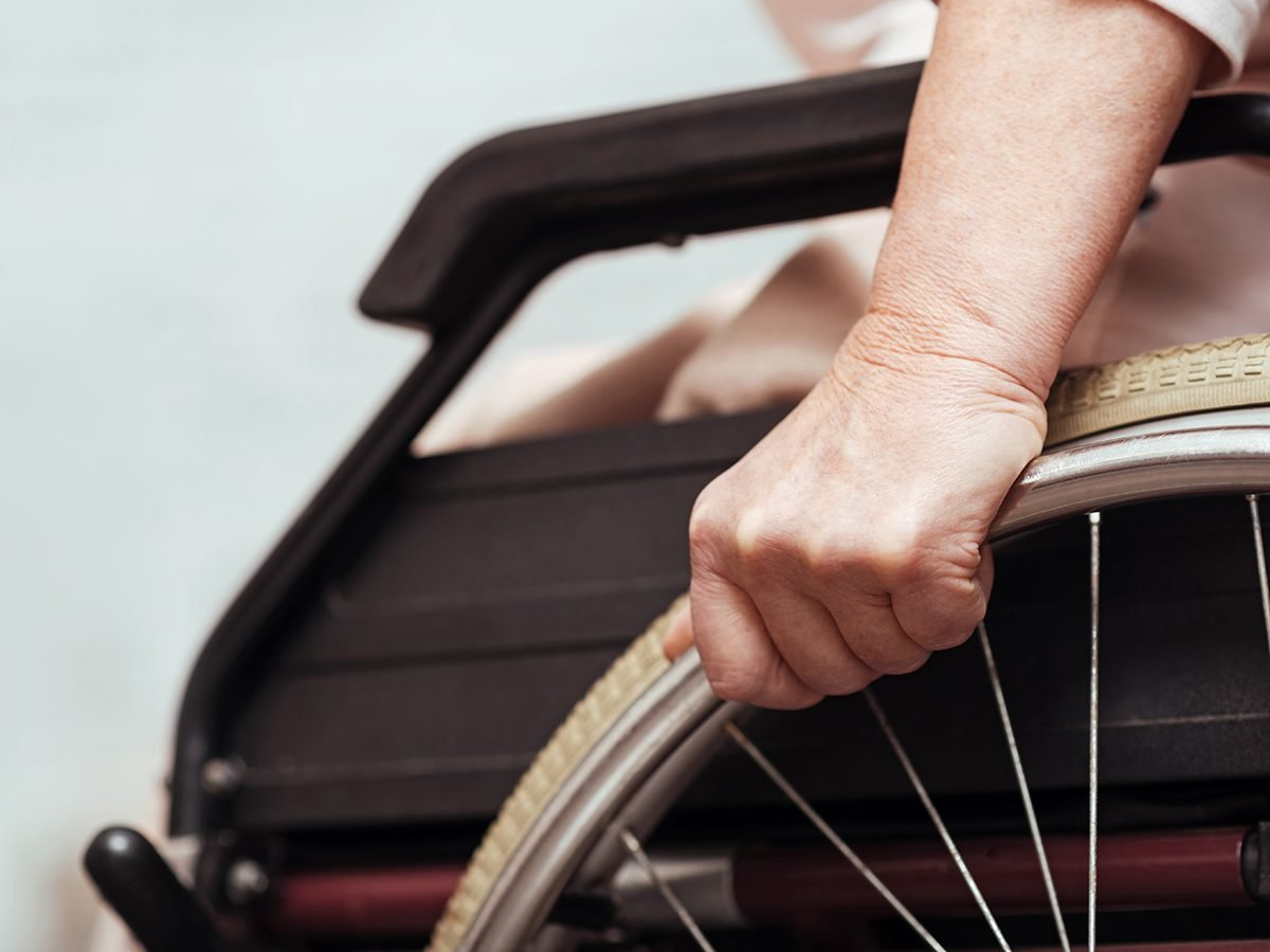 Good news - elderly woman in wheelchair
