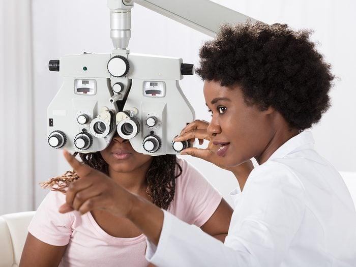 Health benefits of cantaloupe - optometrist conducting eye test