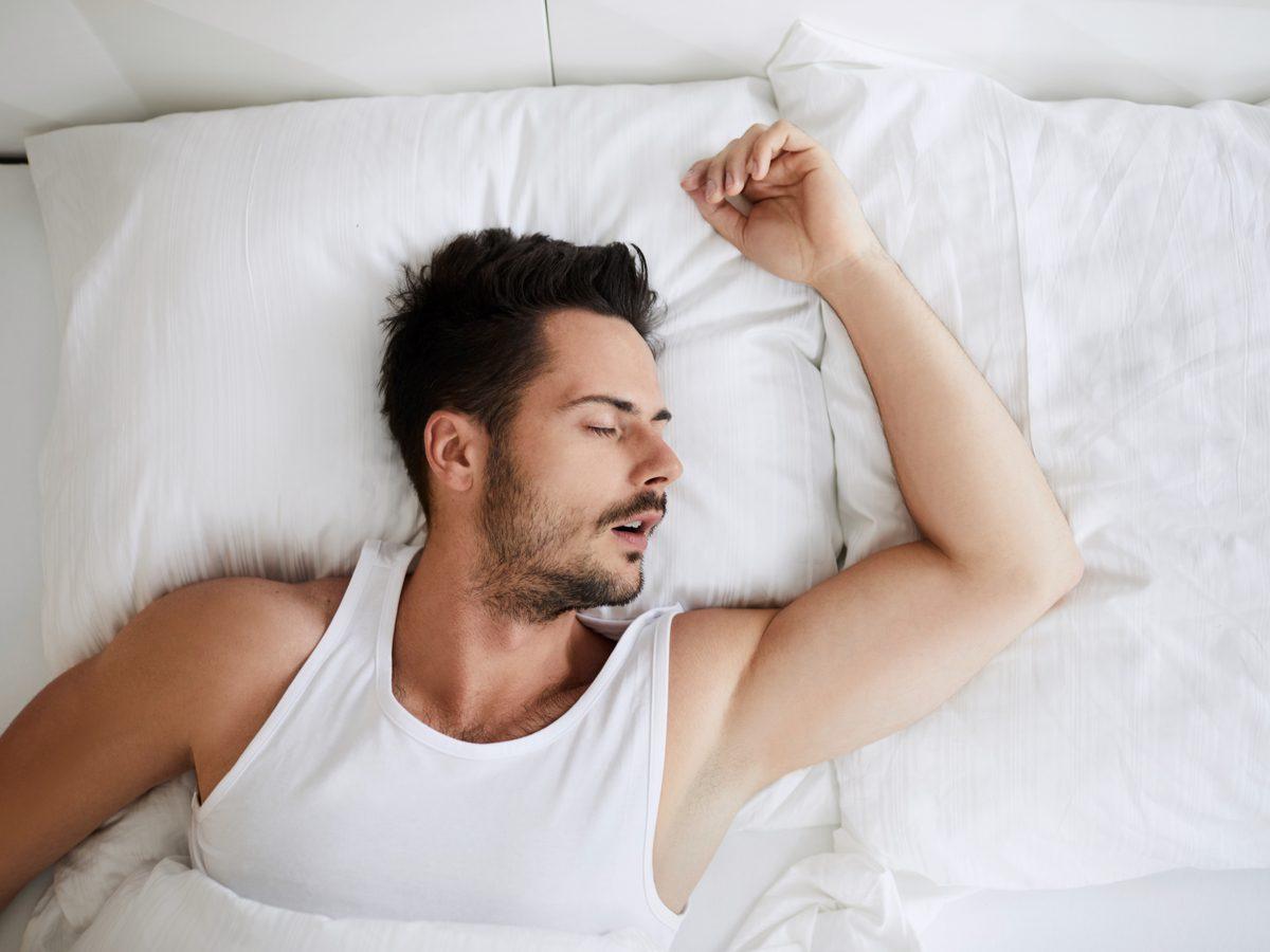 Bearded man sleeping