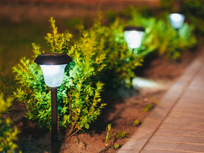 How to boost curb appeal - solar lights along walkway