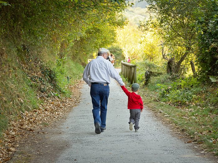 How to make walking less boring - grandfather walking with child