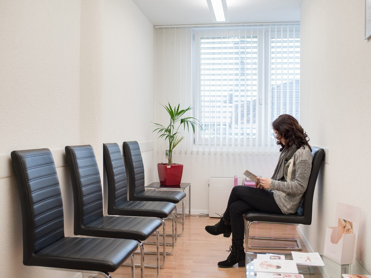 Woman waiting in the doctor's office
