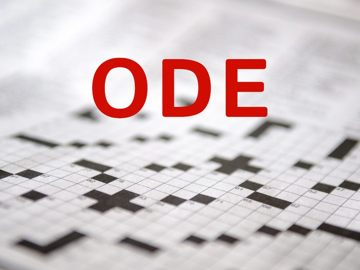 Crossword puzzle answers - Ode
