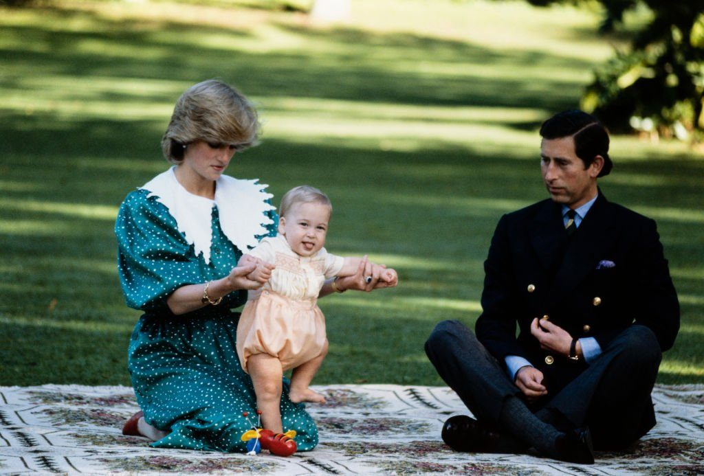 Diana Princess of Wales with Prince Charles and Prince William posing for a photocall on the lawn of Government House in Auckland...