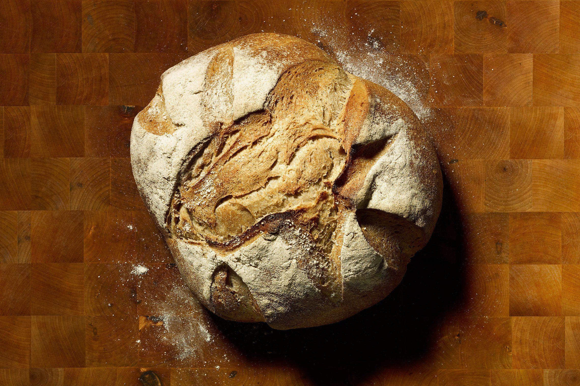 bread on a wood cutting board background
