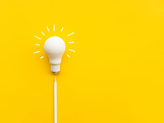 How to improve your memory every day - Business creativity and inspiration concepts with lightbulb and pencil on yellow background. motivation for success.think big ideas