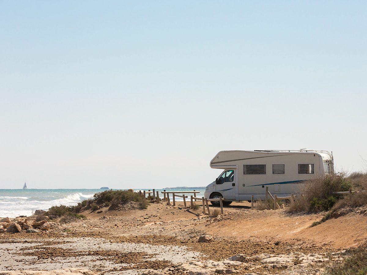 RV trip planner - RV motorhome at the beach