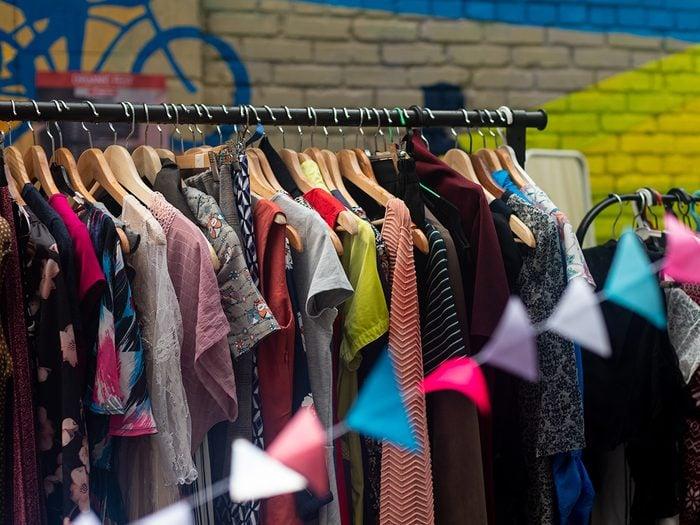 Vintage clothes on rack