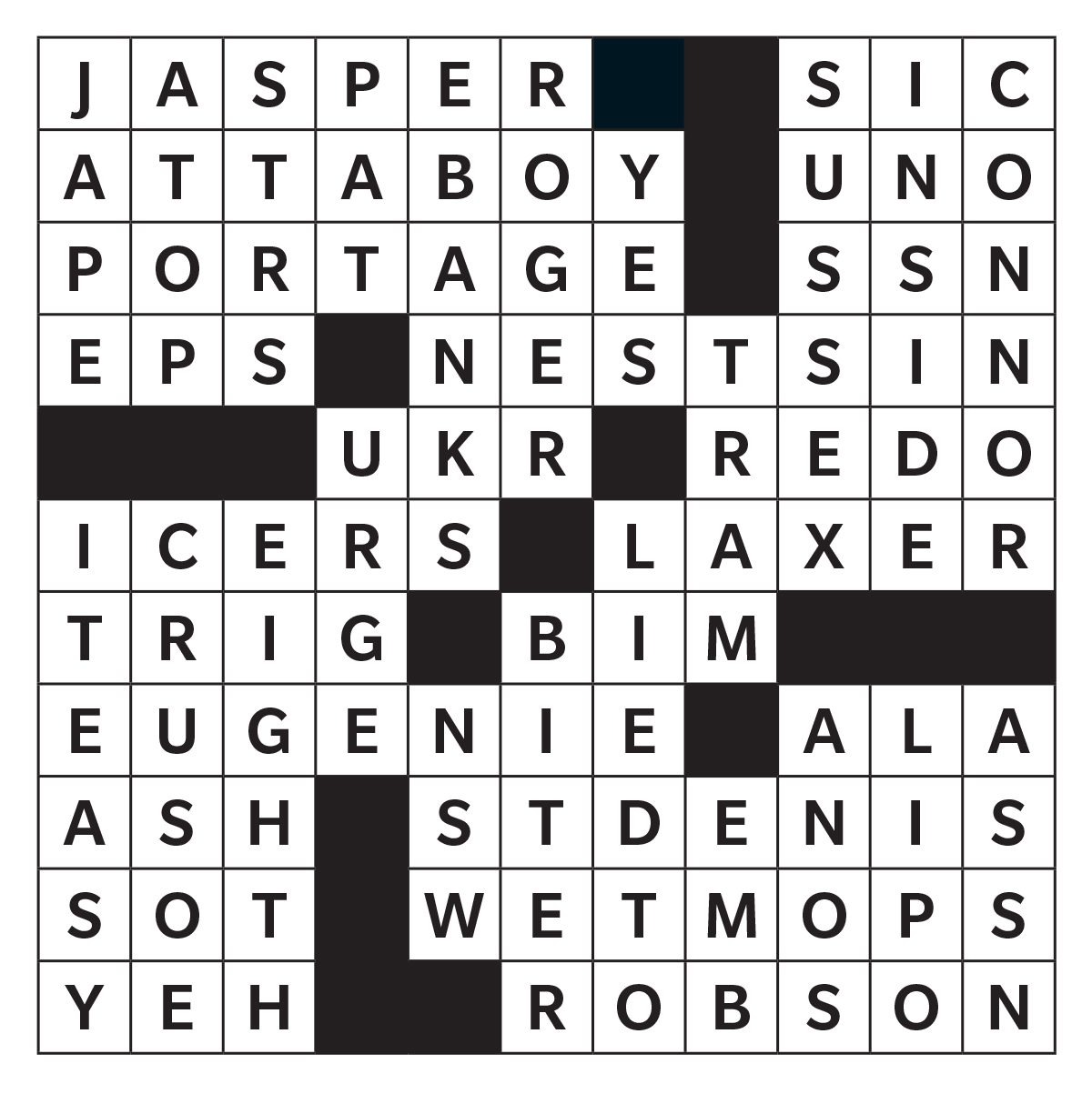 Printable crossword answer - September 2019