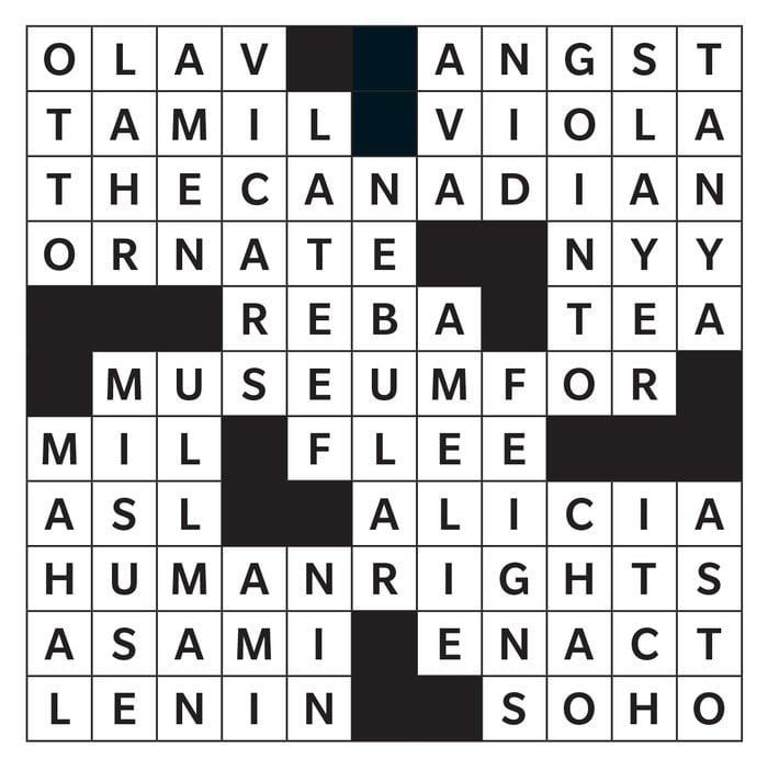 Printable crossword answer - June 2020