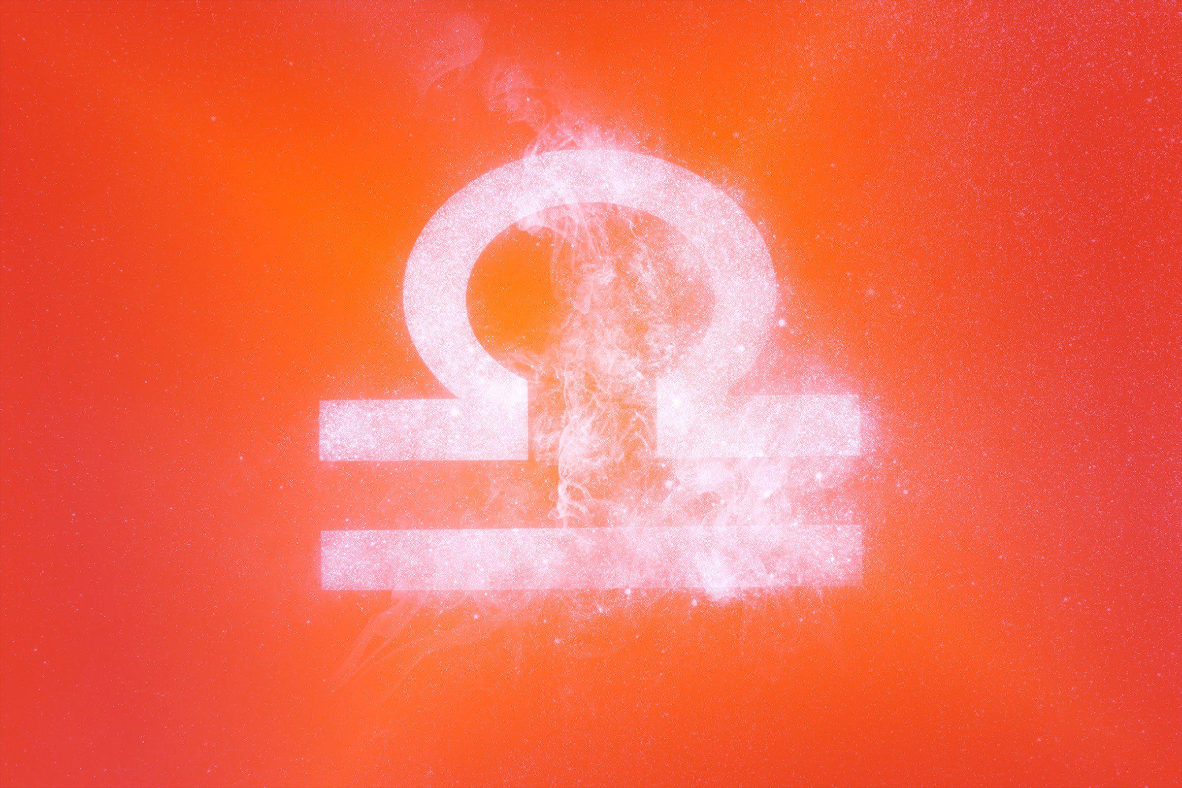 libra symbol with red-orange gradient overlay