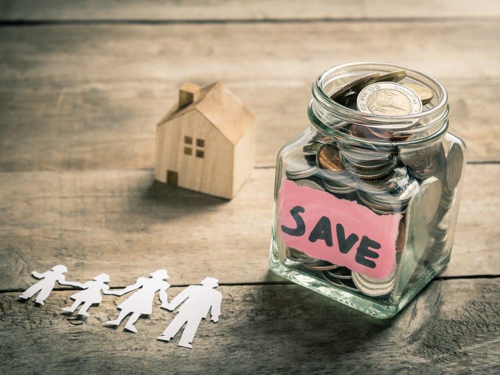 Savings in money jar