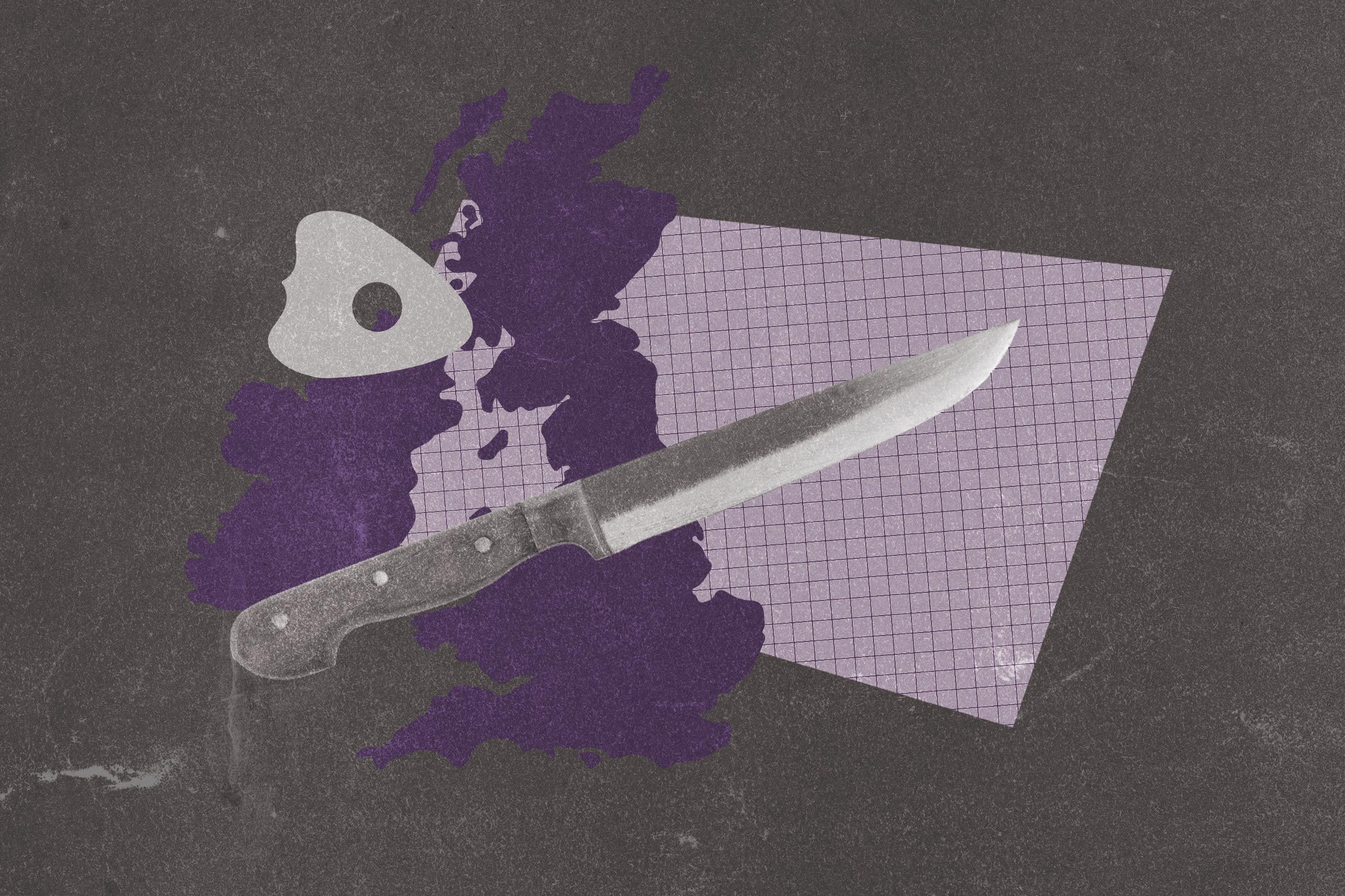 Collage of knife, outline of United Kingdom