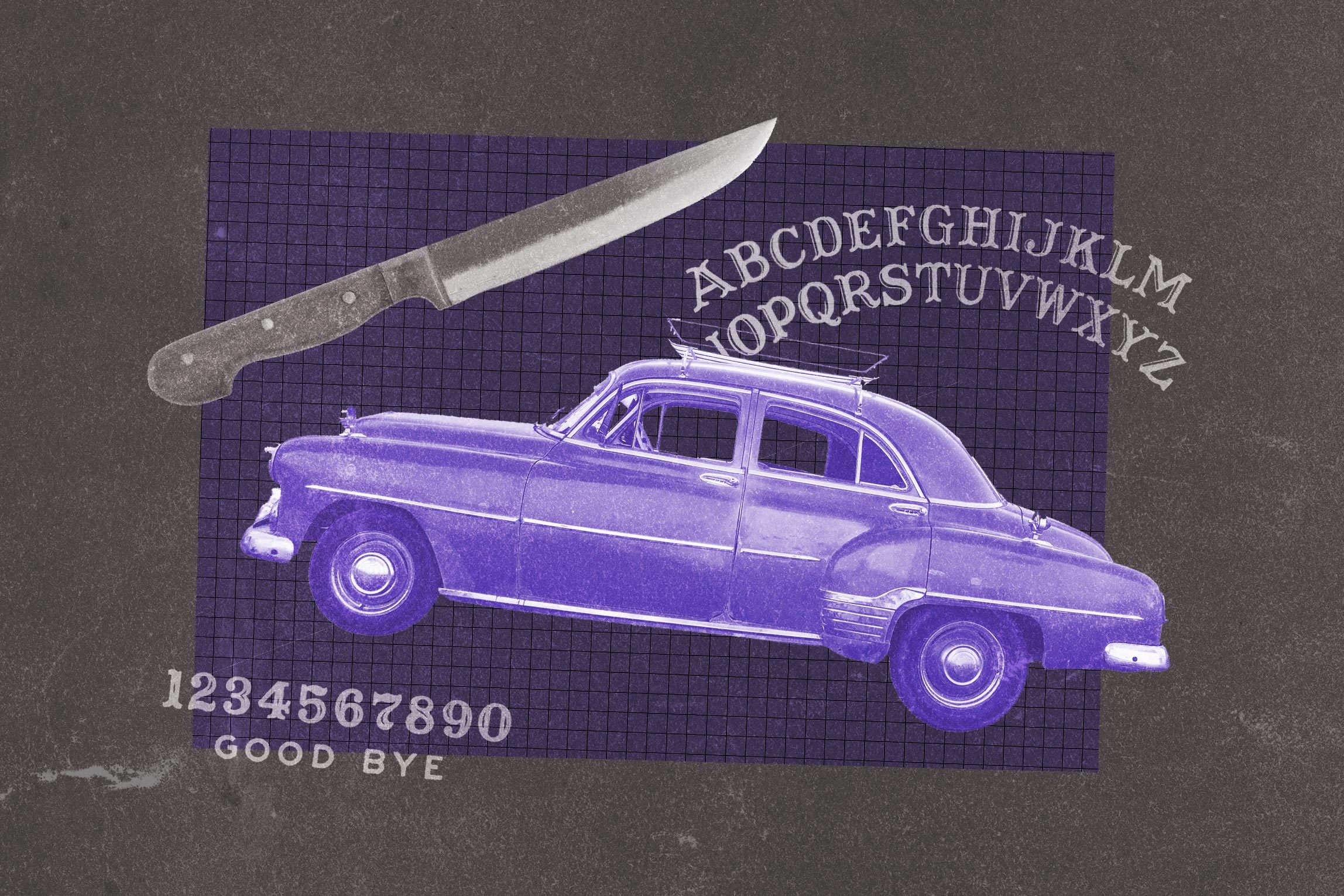 Collage of old-fashioned car, knife, and oujia board lettering.