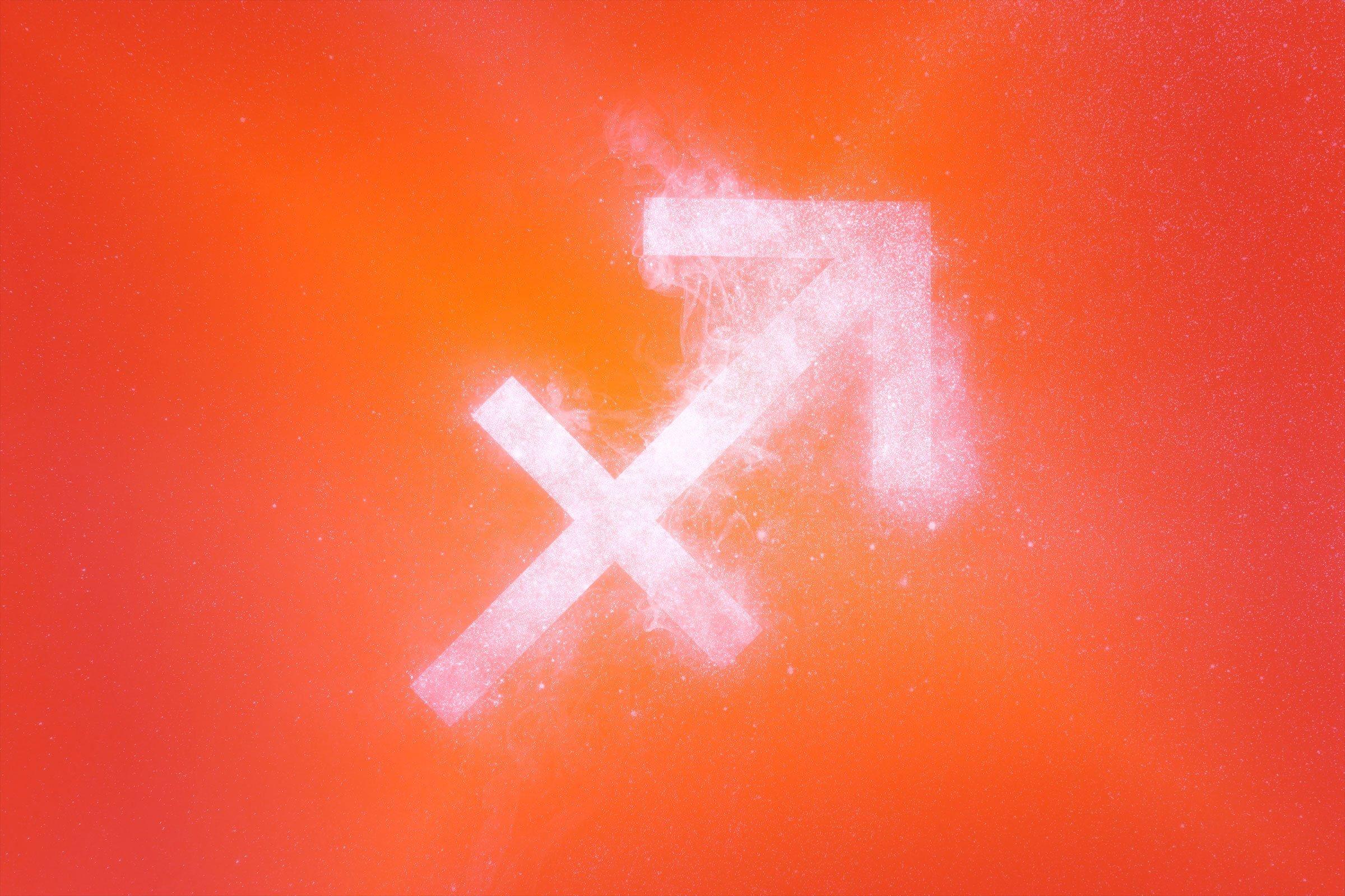 sagittarius symbol with red-orange gradient overlay