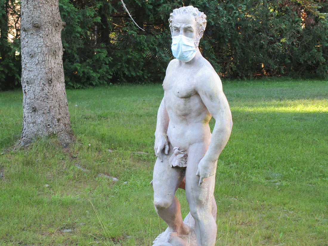 Face mask selfies from across Canada - statue wearing mask