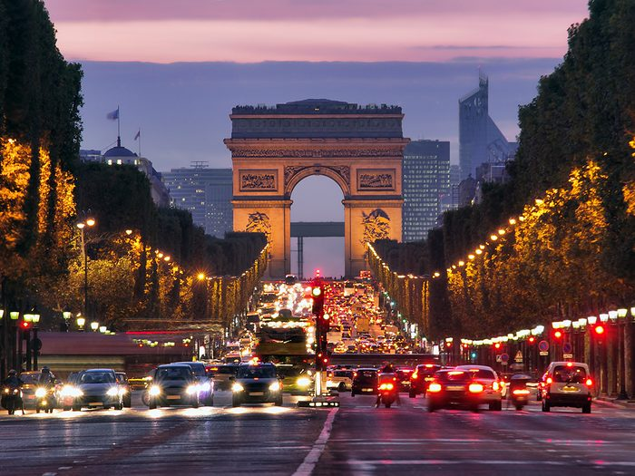 Famous streets - Champs Elysees at night