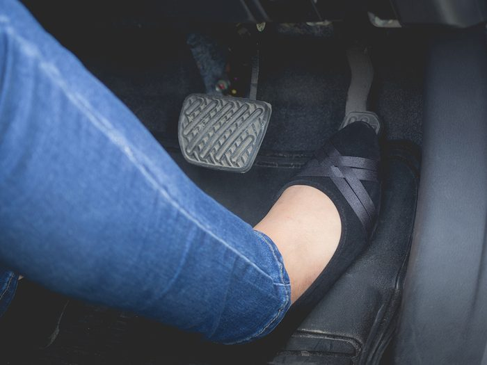Funny driving stories - woman's foot on gas pedal