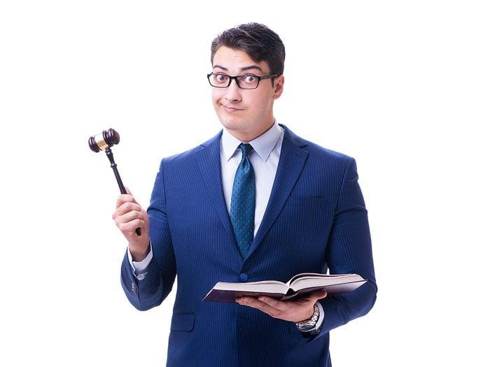 Funny lawyer jokes - lawyer with gavel