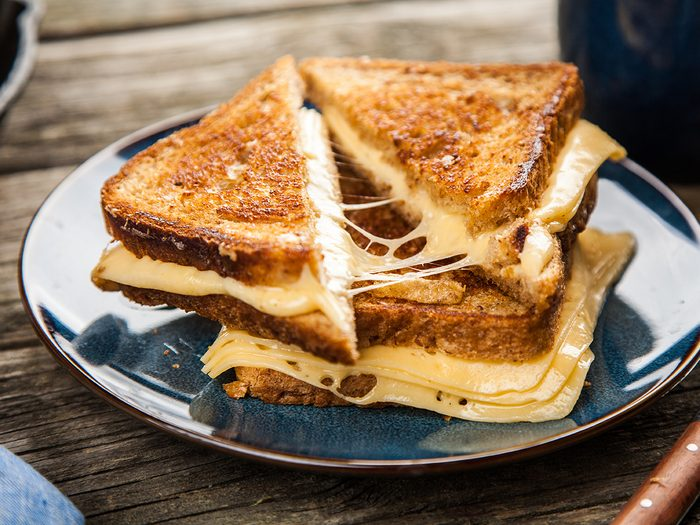 Grilled cheese sandwiches on a plate