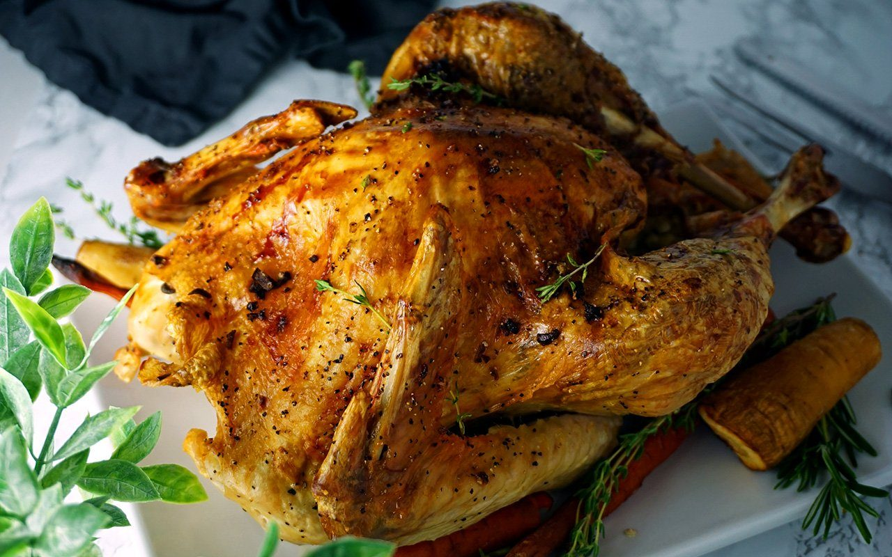 A Thanksgiving turkey with perfectly golden, crispy skin from a hair dryer trick