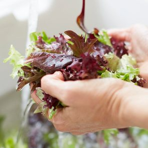 How to wash salad greens - hands holding lettuce