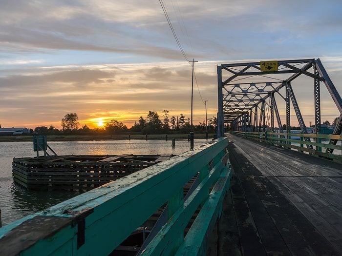 Ladner BC - Westham Island Bridge at sunrise