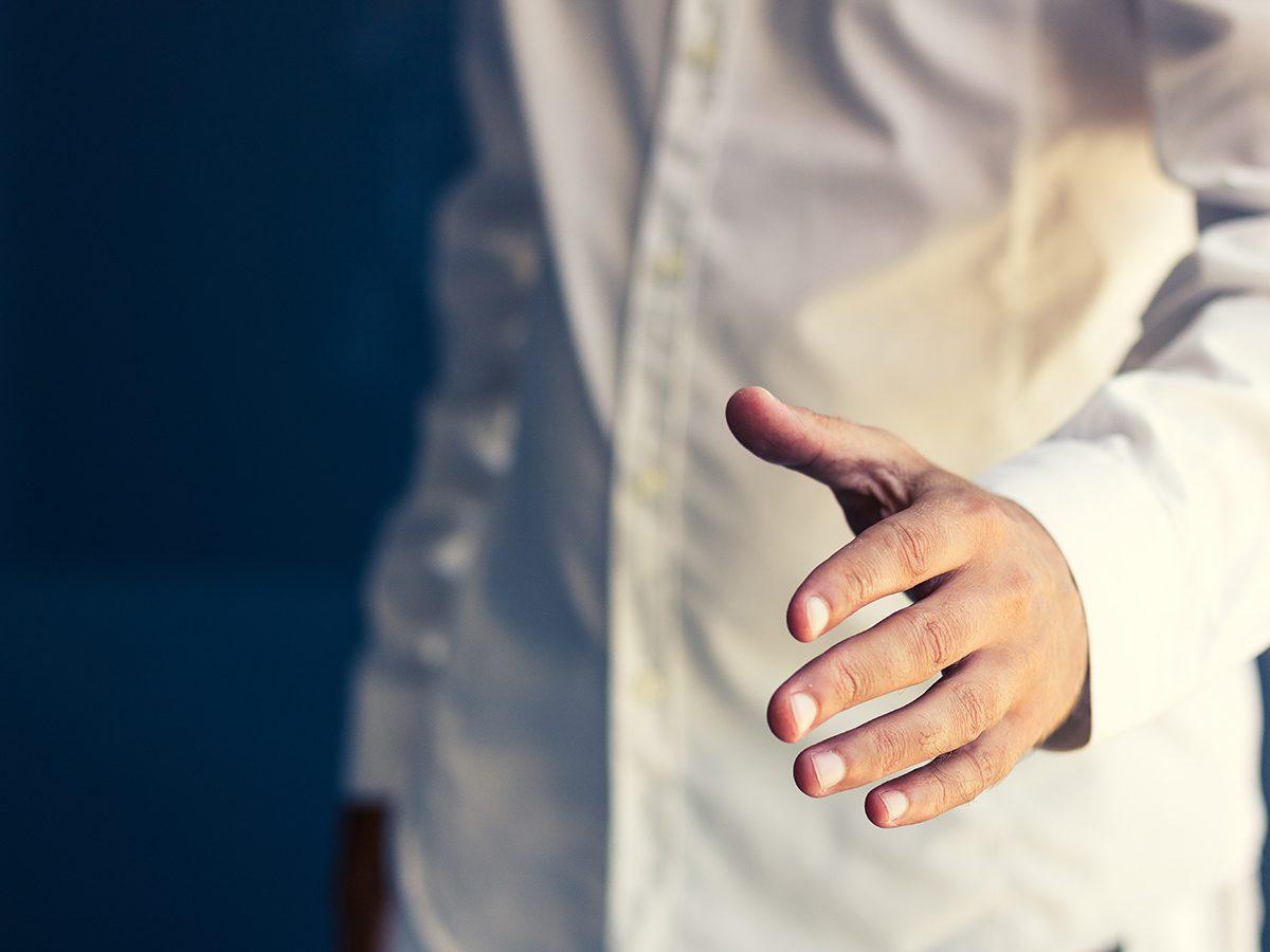 Left hand handshake