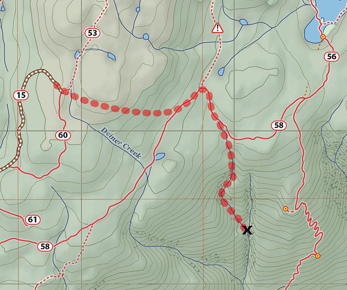 A map of the family's hiking route