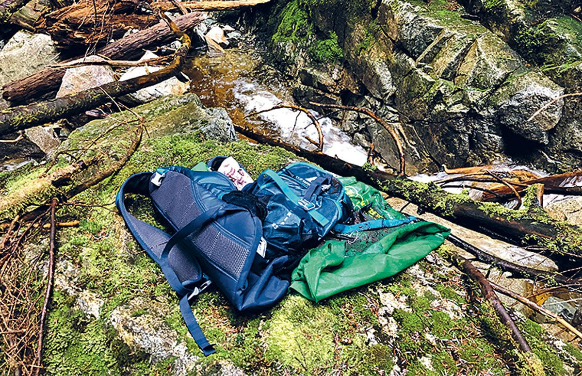 Recovered backpacks and shoes