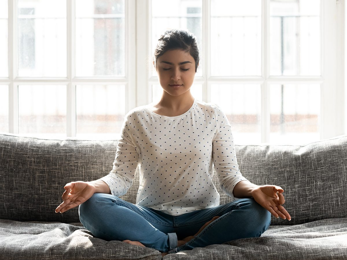 Morning brain exercises - woman meditating