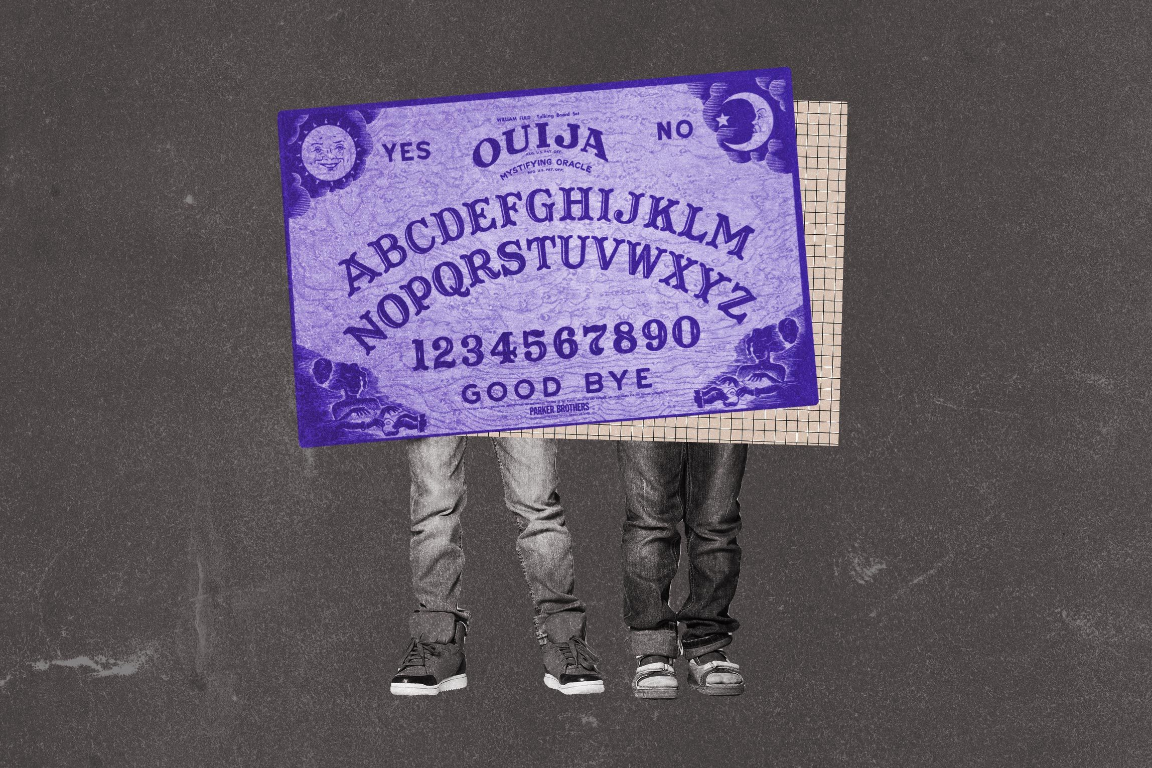 Collage of two boys, ouija board