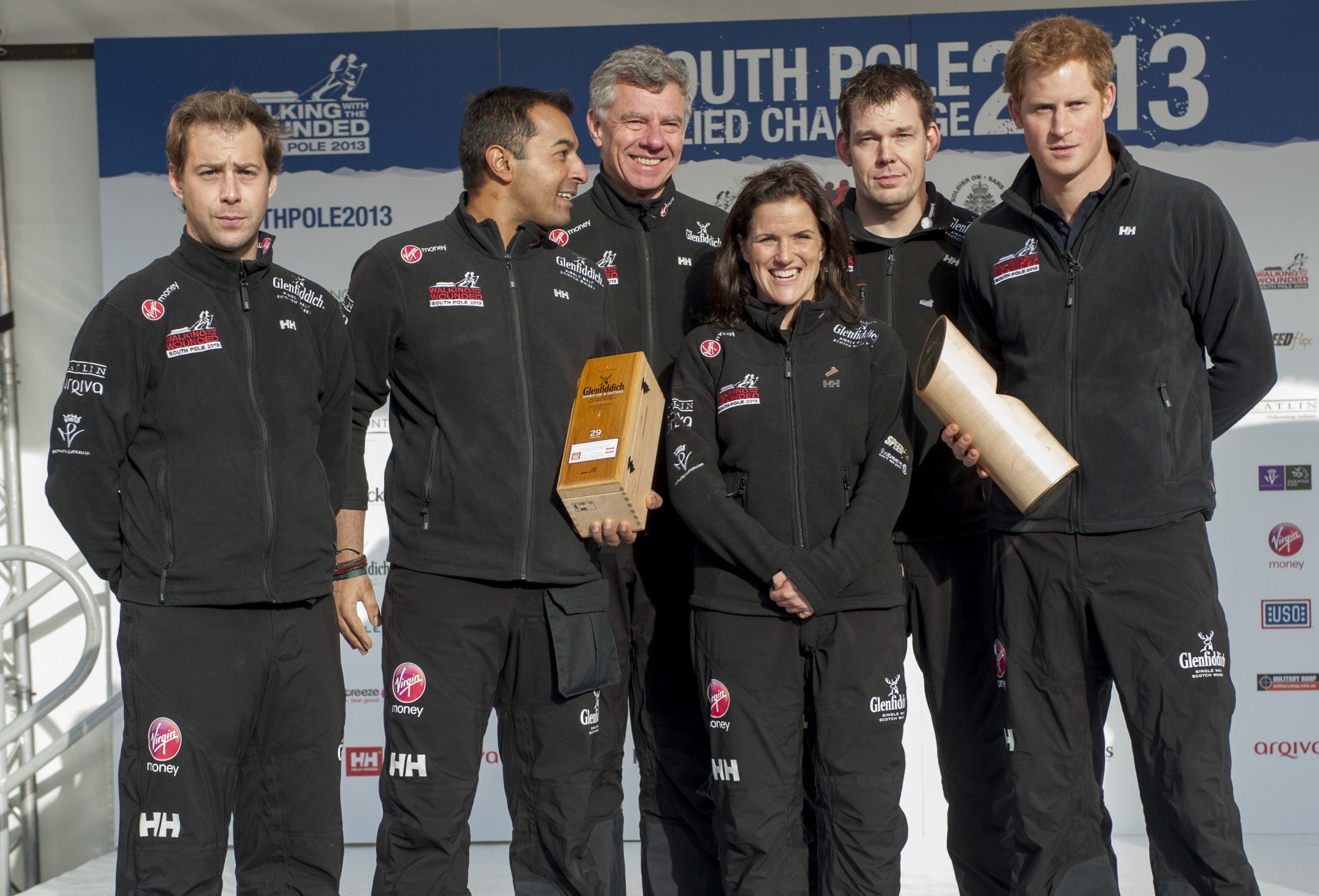 Prince Harry With Team U.k. 'walking With The Wounded' Soldiers At The Launch In Trafalgar Square For Their Race To The South Pole. Guy Disney Ibrar Ali Richard Eyre Kate Philip Duncan Slater. Picture David Parker 14.11.13.
