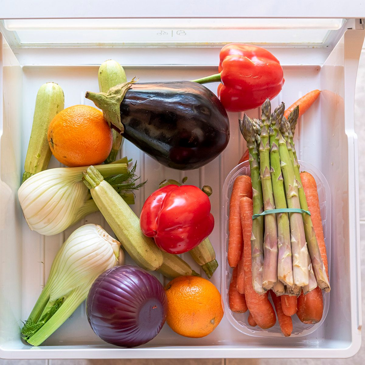 Produce in fridge drawer