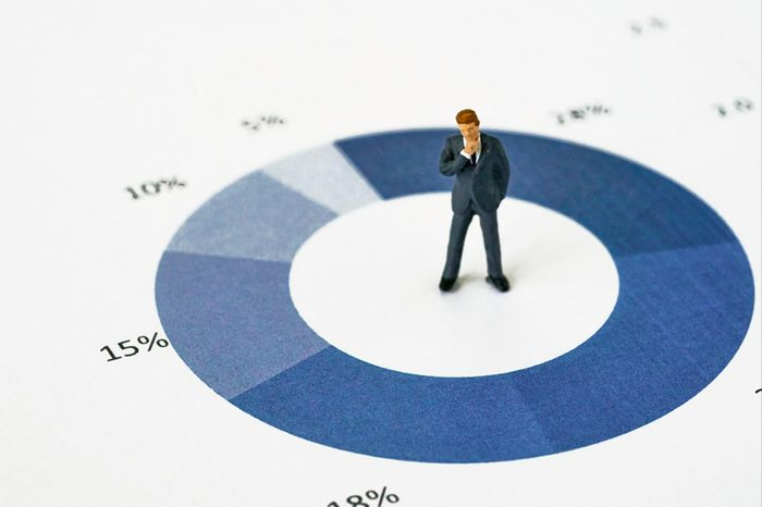 Miniature people with small figure businessman standing at the center of printed analysis pie chart graph as business leader decision for success concept.