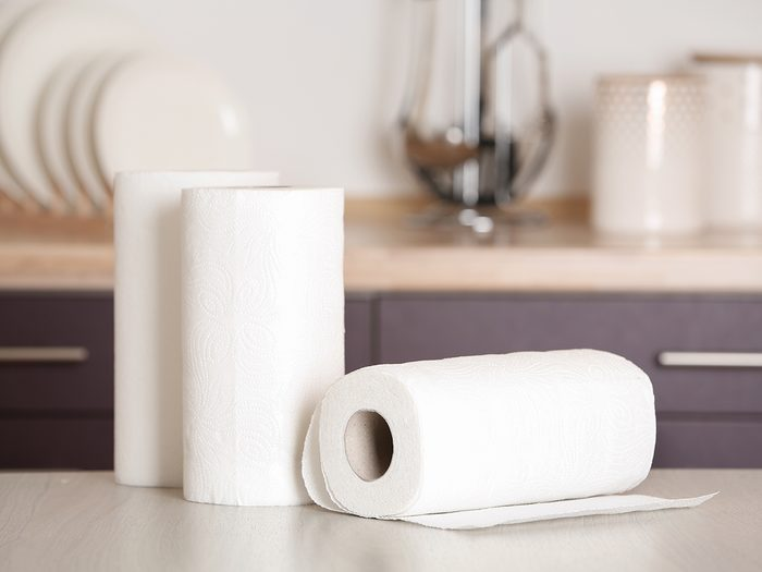 Things you shouldn't clean with paper towel - paper towel rolls in kitchen