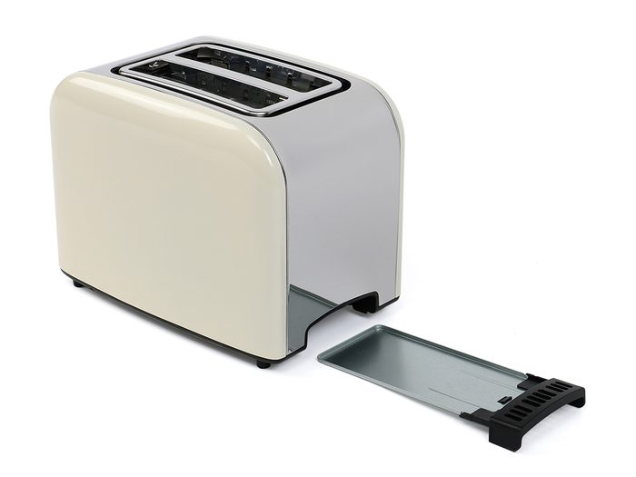 Toaster with open crumb tray