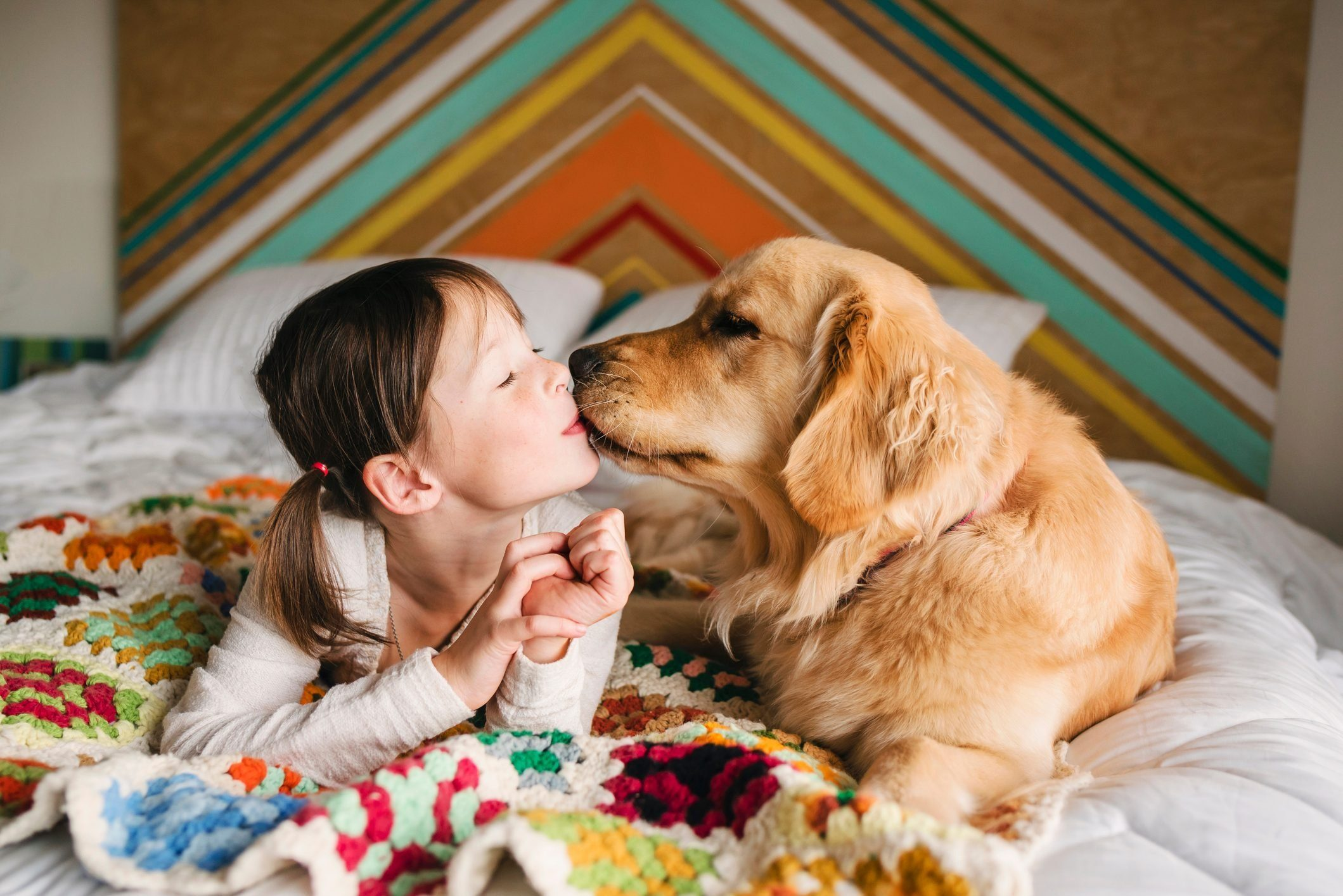 Most affectionate dog breeds - Girl lying on a bed kissing her golden retriever dog