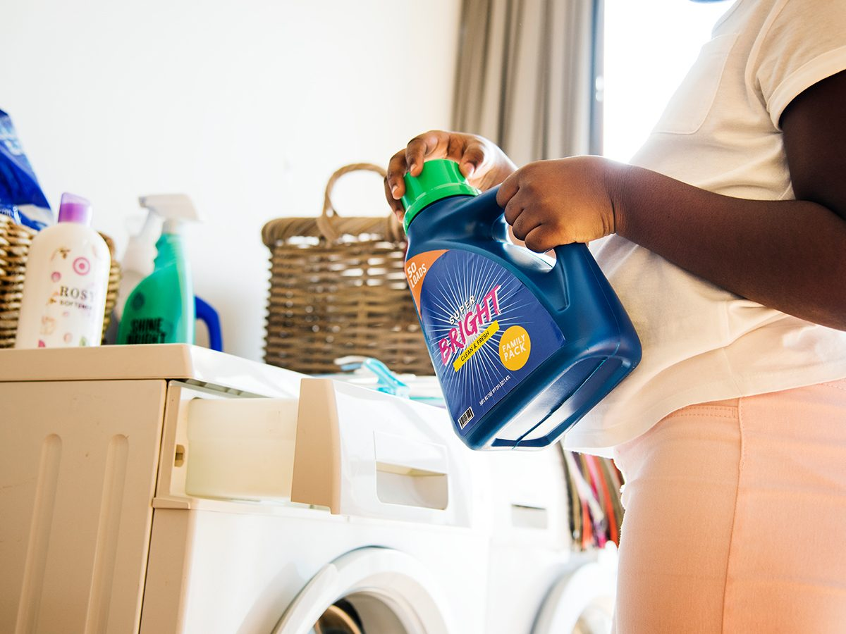 Bad cleaning habits - woman doing laundry