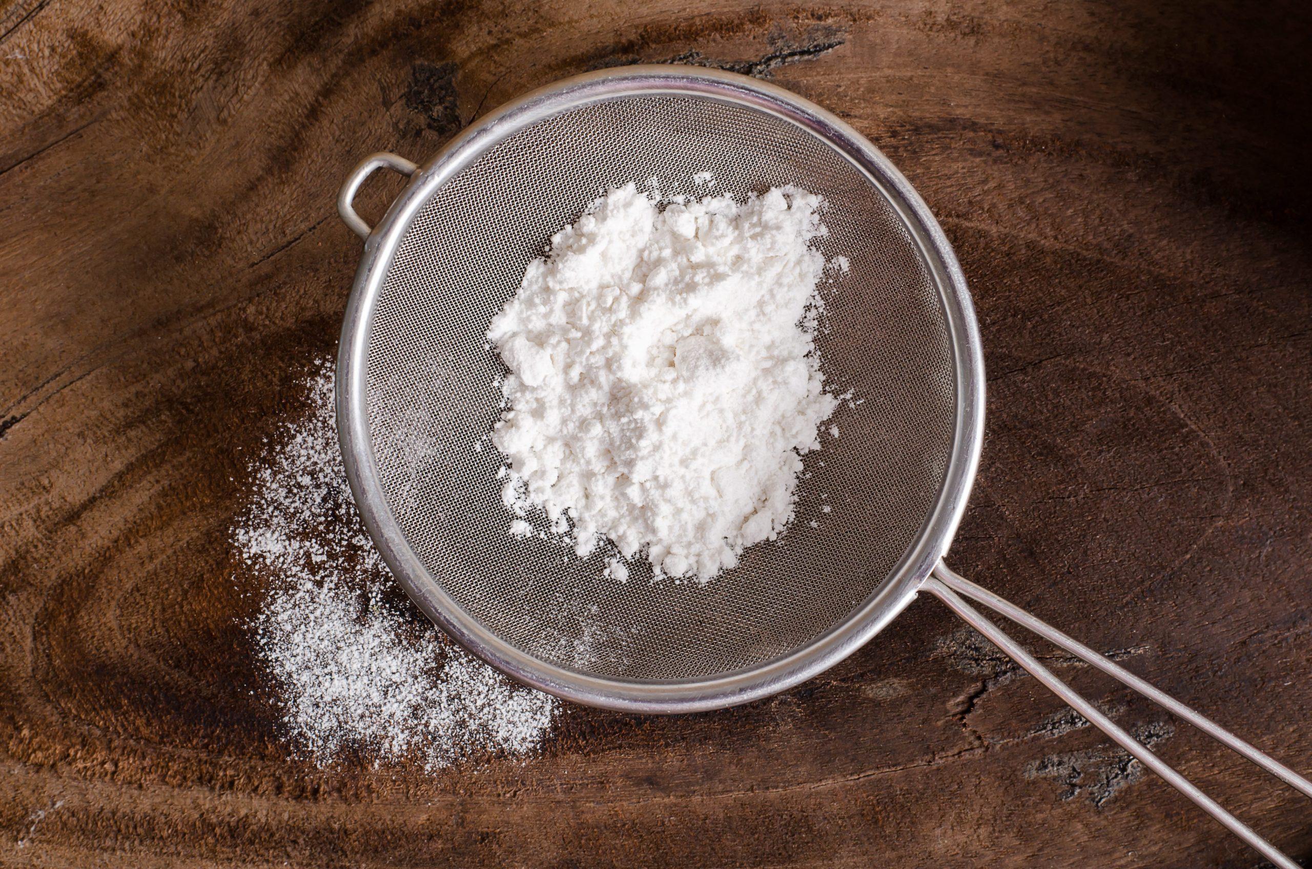 flour in a sieve