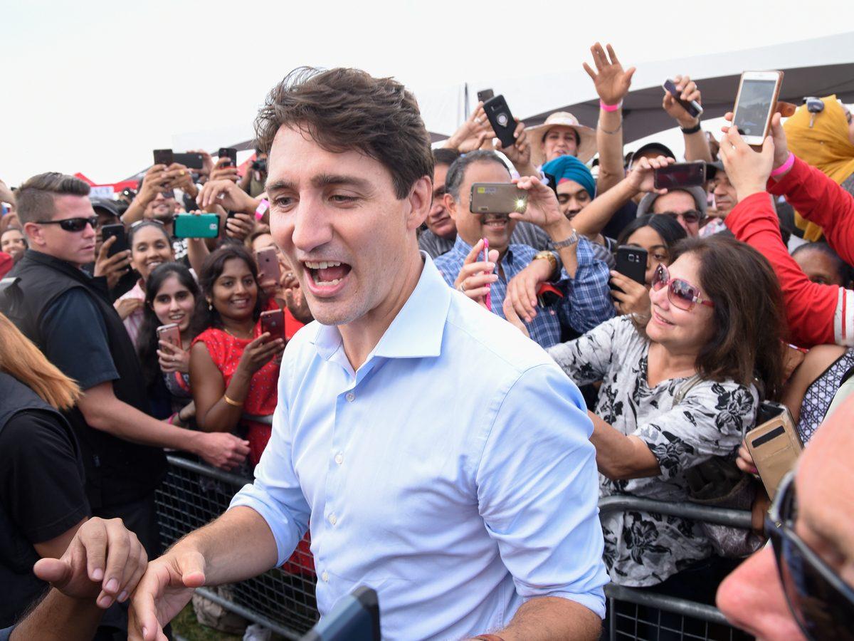 Justin Trudeau campaigning in Brampton