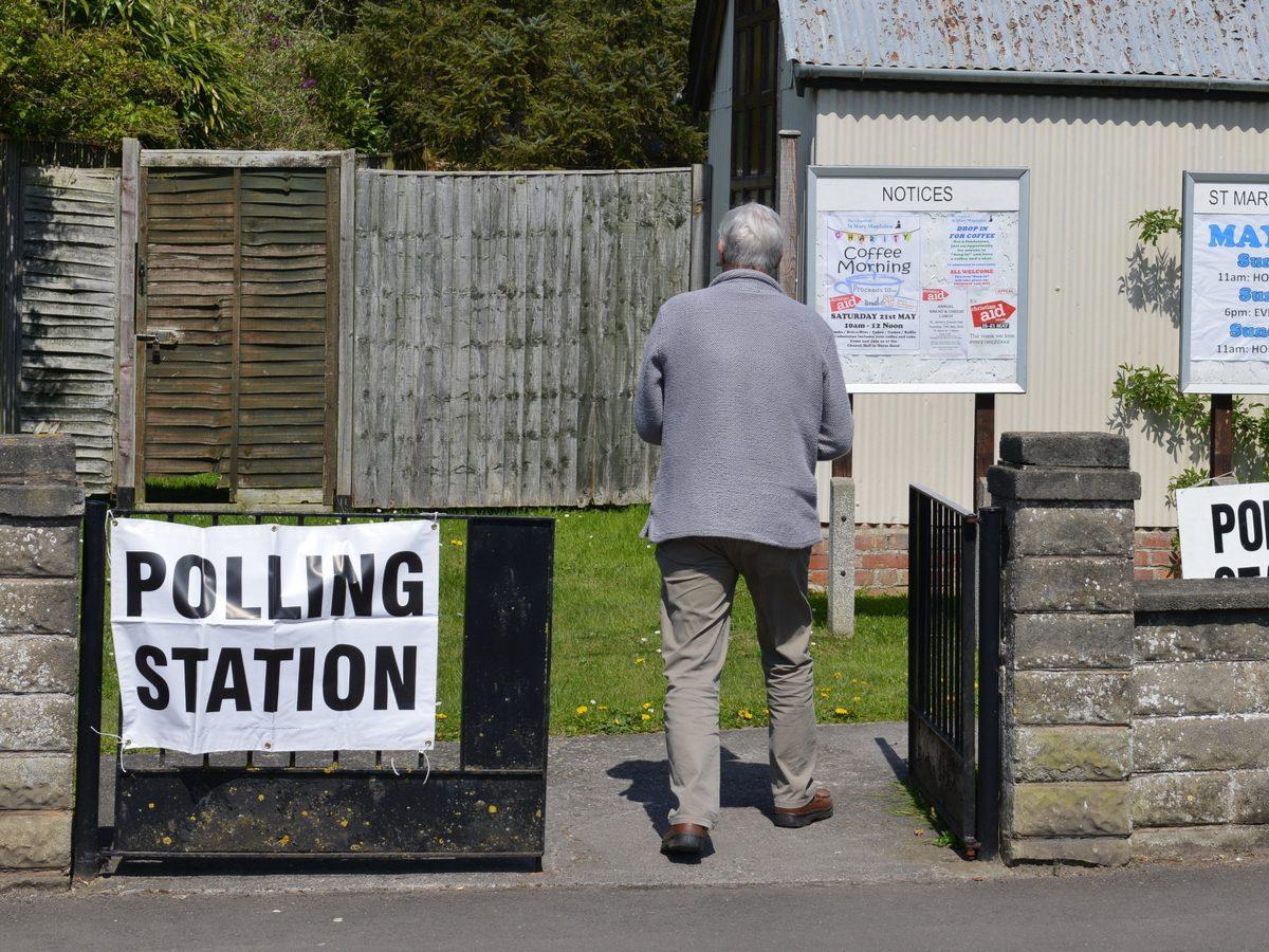 Polling station in England, United Kingdom