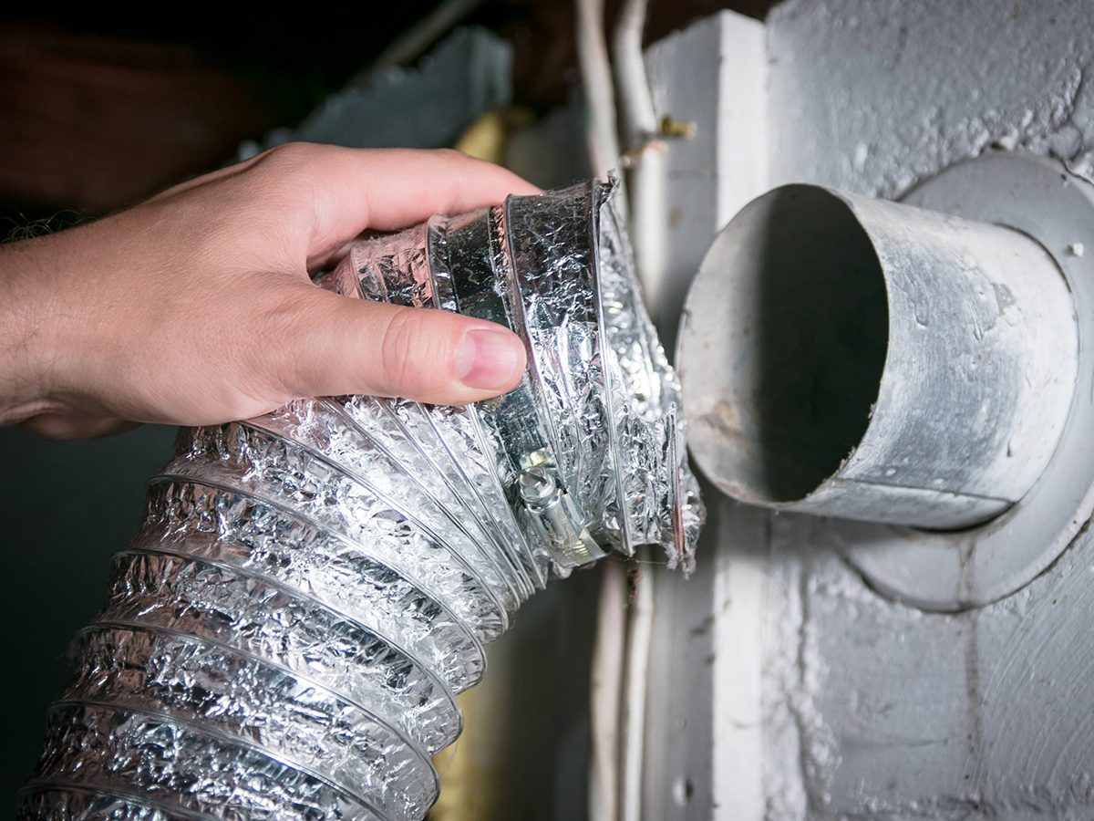 Home fire hazards - Flexible aluminum dryer vent hose, removed for cleaning/repair/maintenance