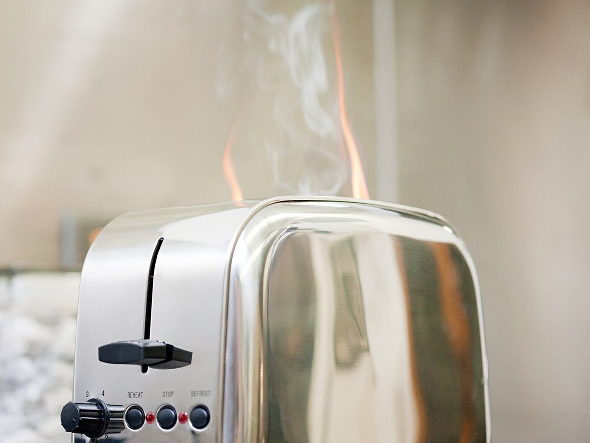 Home fire hazards - Toaster on fire